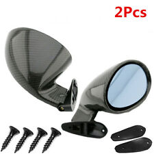 1 Pairs Car Racing F1 Style Side Wing Rearview Mirrors Glossy Carbon Fiber Blue