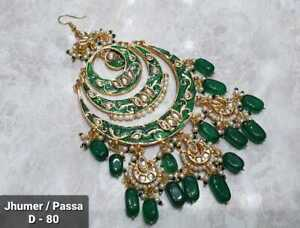 Indian Kundan Gold Plated Bridal Jhoomar Passa Bollywood Head Jewelry Green Meen