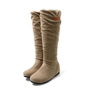 Winter Slouch Knee-High Boots For Women Flats Heel Hidden Wedge Casual Booties