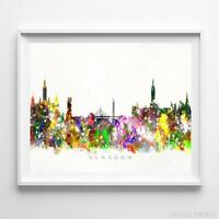 Glasgow Scotland Watercolor Skyline Wall Art Home Decor Poster UNFRAMED