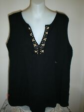 NOW BRAND Plus Size 16-18 BLACK SLEEVELESS TOP COTTON With Bead Detail  (P7)