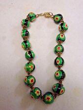 "Vintage Venetian Murano Millefiori Art Glass Bead  bracelet 8 ""  GREEN BLACK"