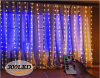 300 LED 8 Mode Curtain Plug In Fairy Lights USB String Hanging Christmas Wedding