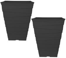 2 x 30 Litre BLACK Large Plant Pots Square Tall Plastic Planters Outdoor Garden