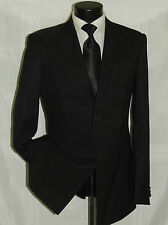 Superb Black shadow stripe Marco Bruno men's prom wedding suit coat pant 40 L