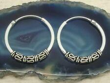 Bali Creolen 925 Silber mit Verzierung Ø 20mm Paar Ohrringe Metal Gothic Punk