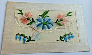 """UNPOSTED  WW 1 SILK POSTCARD """"HEARTY GREETINGS FOR CHRISTMAS """" INSERT CARD"""