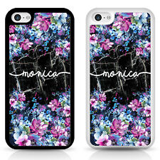 Personalised iPhone case, black marble flower Samsung, apple cover, gift idea,