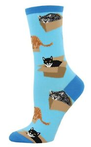 NEW Womens Fun Novelty Socks Cats in a Box on Blue - Sock Size 9-11