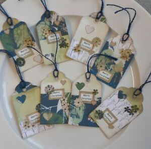 Set of 8 Handmade Rustic Vintage Style Green Christmas Gift Tags Labels Party