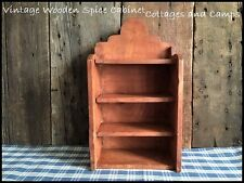Primitive Vtg Handmade Wooden Spice Cabinet 3 Open Shelves Ornate Crown Signed