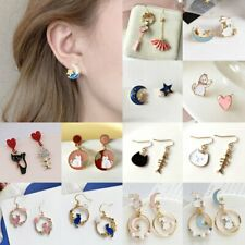 Fashion Chinese Style Cat Moon Str Asymmetric Dangle Earrings Stud Women Jewelry