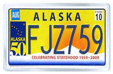 ALASKA USA LICENSE PLATE FRIDGE MAGNET SOUVENIR IMAN NEVERA