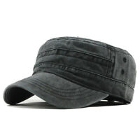 Vintage Military Washed Cap Men Adjustable Flat Hats Winter Warm Cotton Snapback
