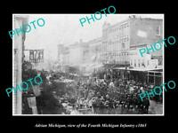 OLD LARGE HISTORIC PHOTO OF ADRIAN MICHIGAN CIVIL WAR 4th MICHIGAN INFANTRY 1865