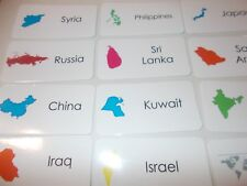 Countries of Asia Flash Cards. Preschool Geography Picture and Word flash cards.