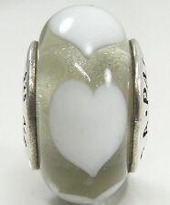 Pandora Sterling Silver Murano Glass Ice Love White Hearts Charm Bead #790666