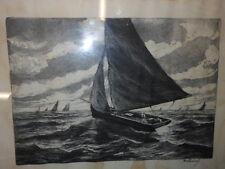 Acquaforte Barca a vela Detrich 37x49 ^