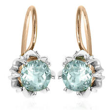 Russian Style Earrings Genuine1.50ct Aquamarine in Solid 14k Rose & White Gold
