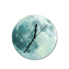 Fantastic Luminova 3D Moon Wall Clock Glow in the Dark Quartz Watch Home Decor