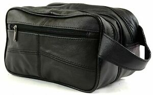 Large REAL LEATHER WASH BAG zipped toiletries toiletry travel Gents Womens Mens