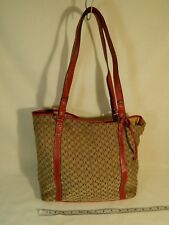 Ann Klein Beige and Red Logo Purse Handbag with Magnetic Clasp Light N Flexible