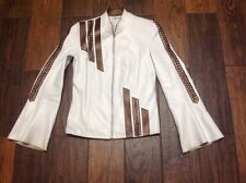 Genuine Leather Pearl White with Brown Motorcycle Jacket Size XS S M  Pretty