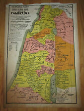 "VTG. PEERLESS SUNDAY SCHOOL MAP #2 ""PALESTINE""-  25"" X 17""- HEAVY LINEN PAPER"