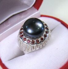 12 MM BLACK TAHITIAN COLOR PEARL RHODOLITE SAPPHIRE RING #7 GOLD over 925 SILVER