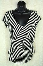 Olivia Moon Women's Blouse Top Tiered Striped Black and White Size Small G-82