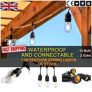 6 Pack 11m LED Festoon String Lights Outdoor Warm White Festoon Patio Garden UK