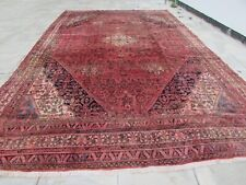 Vintage Worn Hand Made Traditional Oriental Wool Red Pink Large Carpet 535x330cm