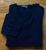 VTG LE FORME DEL FILO ITALY XL VNeck Navy Blue Men's Sweater Merino Wool (L)-US