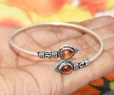 Bracelet 925 Silver Overlay U287-D156 Garnet Gemstone Adjustable Cuff Bangle