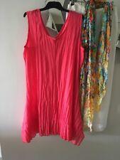 TS TAKING SHAPE Salmon Pink Sleeveless Crushed Mesh Layering Tunic Dress S