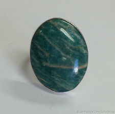 Estate Jewelry Oval Green Amazonite Ring Sterling Silver Size 8