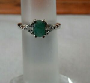 Size 7 Genuine Emerald & White Topaz Sterling Silver Ring 0.70cts