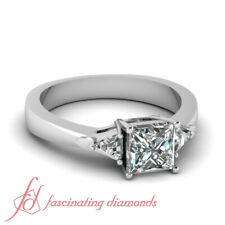 .90 Ct Princess Cut & Trillion Diamond Three Stone Engagement Ring GIA Certified