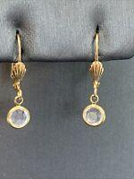 Vintage Gold Tone Fancy  Cubic Zirconia Lever back Drop Dangle Pierced Earrings