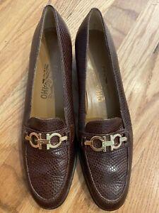SALVATORE FERRAGAMO Brown Croco Embossed Loafer Buckle 7.5 A2
