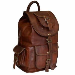 Genuine unisex Real leather backpack bag satchel briefcase laptop brown vintage