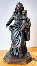 Vierge à l'enfant en bois sculpté 35 cm