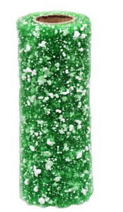 """Crafter's Square CHRISTMAS Snowball Decorative Mesh Ribbon 6"""" x 3 yds ~ Green"""