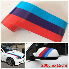 "79""/2M BMW Style Str M-Colored Stripe Hood Vinyl Sticker Body Decal Racing Strip"