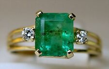 Ladies 14k yellow gold emerald-cut emerald and diamond ring