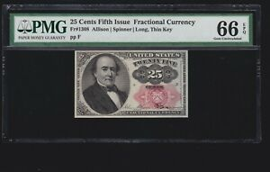 US 25c Fractional Currency 5th Issue Position 3 F FR 1308 PMG 66EPQ Gem CU (001)