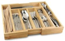 Expandable Wooden Cutlery Tray Holder Cabinet Tidy Drawer Storage Organiser New