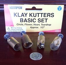 "Kemper Klay Kutters Plunge style cutters 1/2"" SET 1 each of 4 shapes"