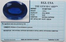 EGL USA TESTED&CERTIFIED NATURAL OVAL BLUE SAPPHIRE 1.49CT. APPRAISED VALUE $520