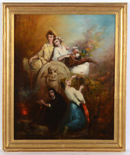 """Jules Ronsin (1867-1937) """"Allegory of four seasons"""", oil on canvas, late 19th c."""